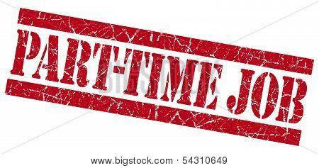 Part-time Job Grunge Red Stamp