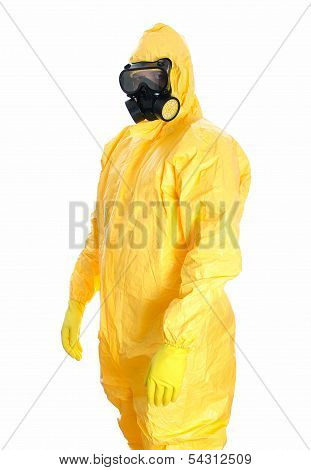 Man In Protective Hazmat Suit. Isolated On White.