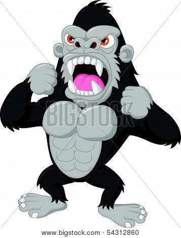 Angry gorilla cartoon character