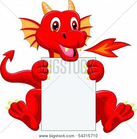 Cute dragon cartoon holding blank sign