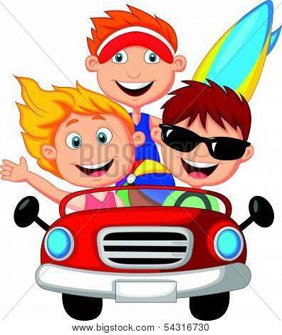 Cartoon Young man and woman having fun driving their car on a road trip
