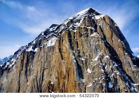 Barren Craggy Peak of an Alaska Mountain near McKinley in Denali