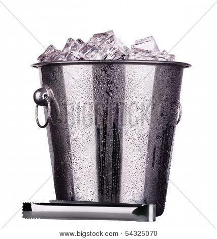 metal ice bucket isolated