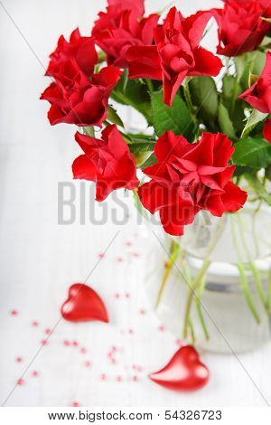 Red Roses With Heart Decoration