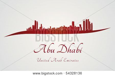 Abu Dhabi Skyline In Red And Gray Background