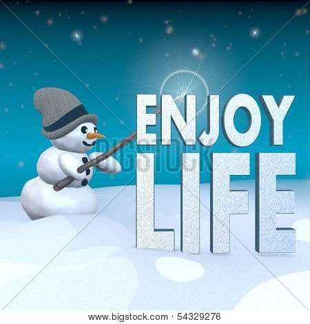 Snowman With Magic Wand And Enjoy Life Label