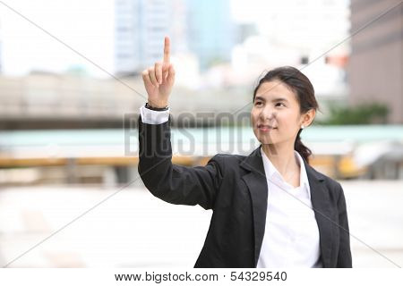 Business Woman Writing Whatever You Want With Her Finger