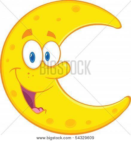 Smiling Moon Cartoon Mascot Character
