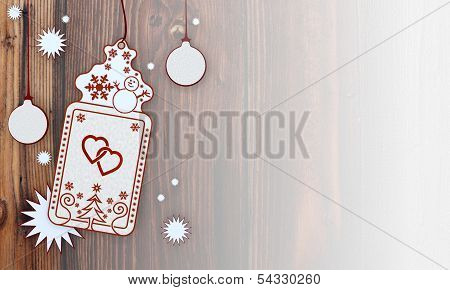 Xmas Coupon With Two Hearts Label