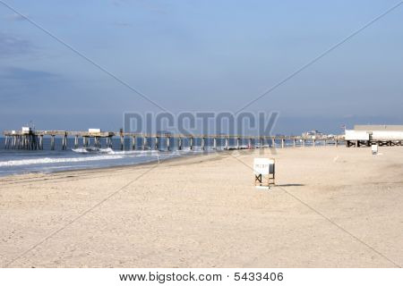 Deserted beach in the early morning