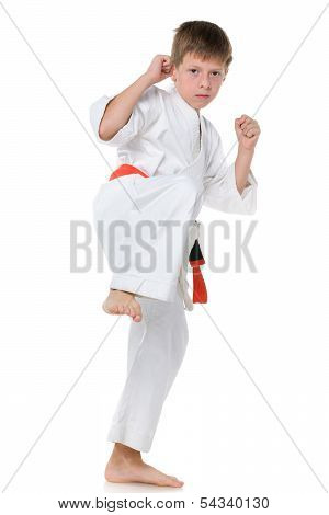Young Boy In Kimono In Fighting Stance