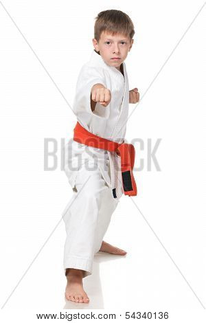 Confident Boy In Kimono In Fighting Stance
