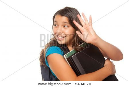 Pretty Hispanic Girl Waving With Books And Backpack