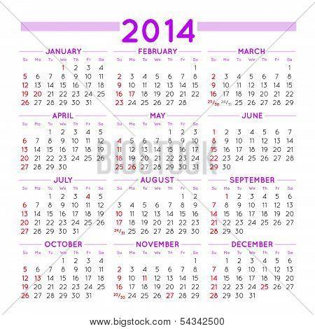2014 Squared Calendar