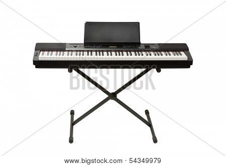 digital piano synthesizer isolated on white