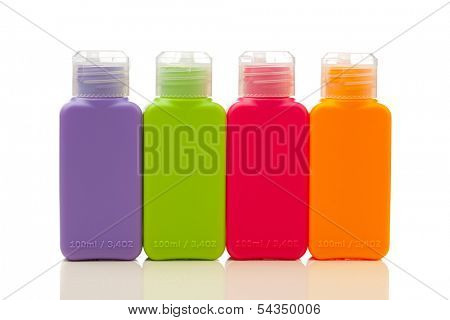 multitude of plastic color bottles