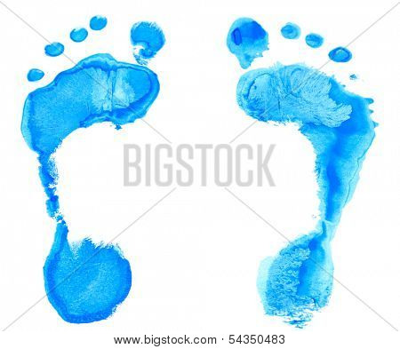 Footprint, close up, isolated in white