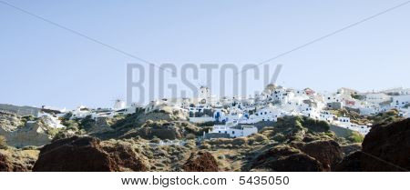 Oia Santorini Town Built Into Volcanic Cliffs Panorama View