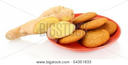 Ginger cookies with fresh ginger root isolated on white