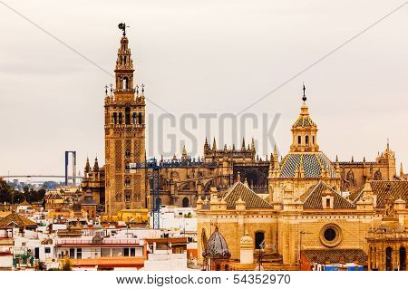 Giralda Bell Tower Seville Cathedral Church Of El Salvador Spain