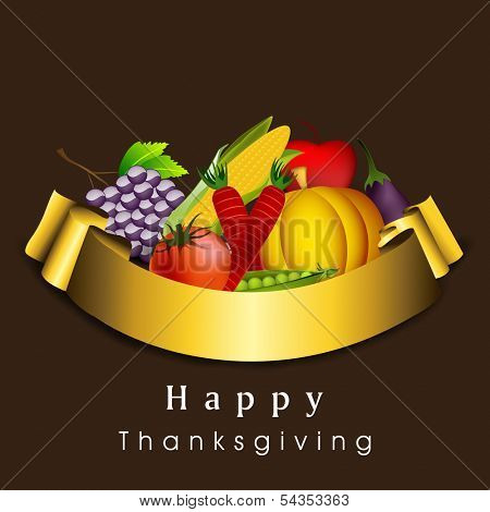 Happy Thanksgiving Day celebration concept with fruits and vegetables with golden ribbon on brown background, can be use as flyer, banner or poster.