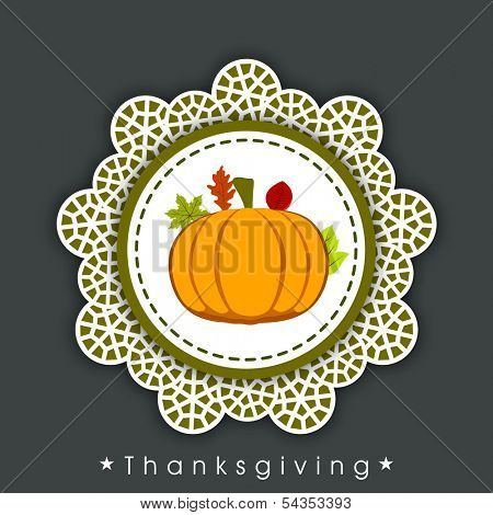 Happy Thanksgiving Day celebration concept with beautiful frame with fruits and vegetables on green background.