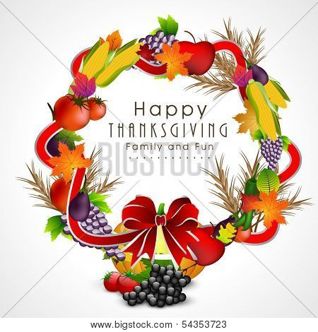 Beautiful Happy Thanksgiving Day fruits and vegetables decorated frame with red ribbon on grey background.