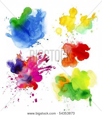 Set of watercolor colorful drops and spray on a white background.