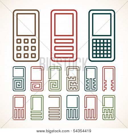 Cell phone abstract icons