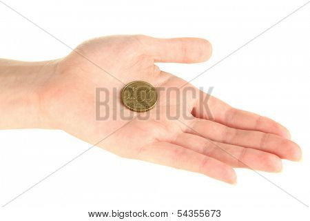 Euro coin on palm isolated on white