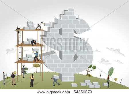 Business people building a money symbol