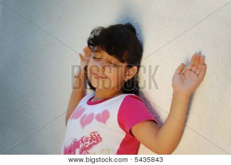 Adorable Girl On Wall