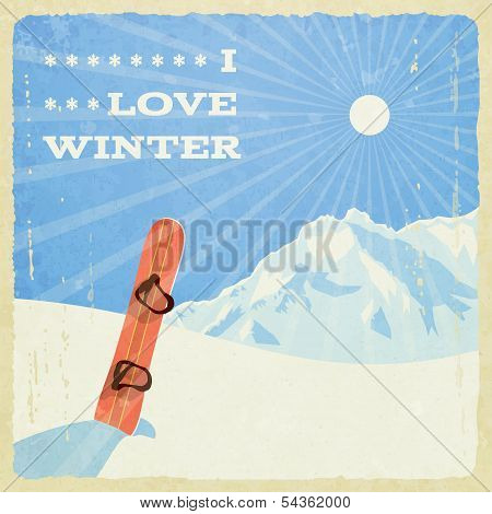 Retro Winter Landscape with Snowboard