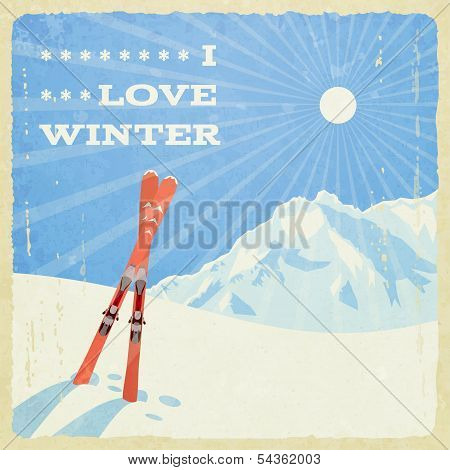 Retro Winter Landscape with Skies