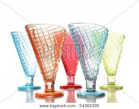 Empty glasses ice cream dish isolated on white