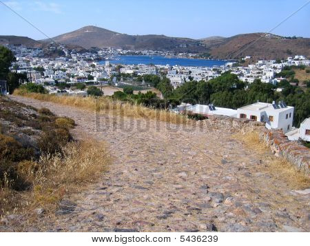Ancient Cobblestone Road To Greek City