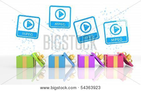Christmas Present Boxes With Mpeg File Icon
