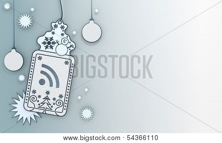 Blue Xmas Coupon With Wifi Symbol