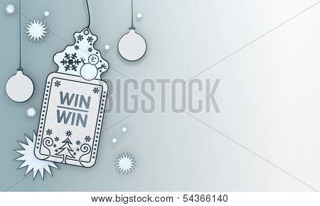 Blue Xmas Coupon With Win Win Symbol