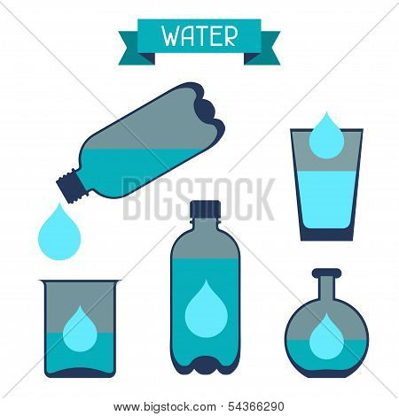 Water storage capacity icons in flat design style.