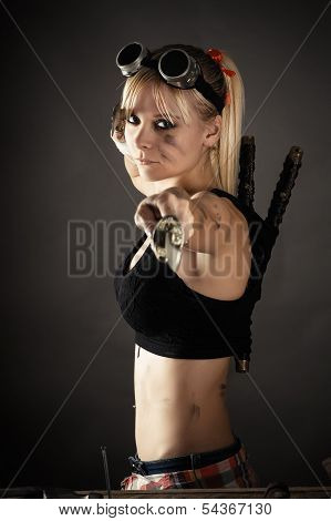 beautiful woman with a sword
