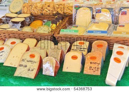 Cheese On Sale In The Market In The Festive City In Dordrecht, Netherlands