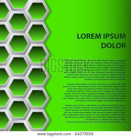 Green Hexagons Brochure Background