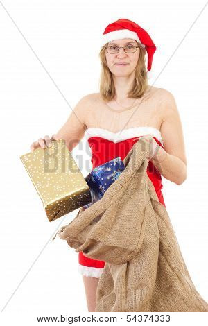 Mrs. Claus With Jute Bag Spreading Gifts To All Nice Children