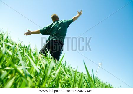 Happy Man On The Summer Field