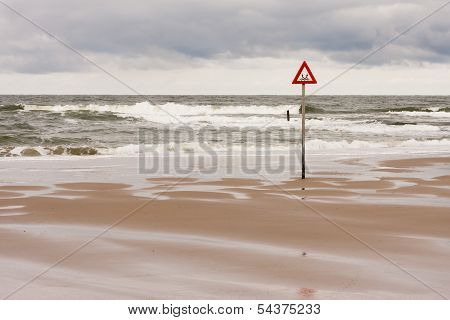 Danger Label At The North Sea