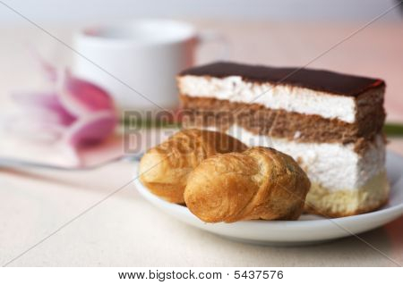Tasty Pastry With The Coffee