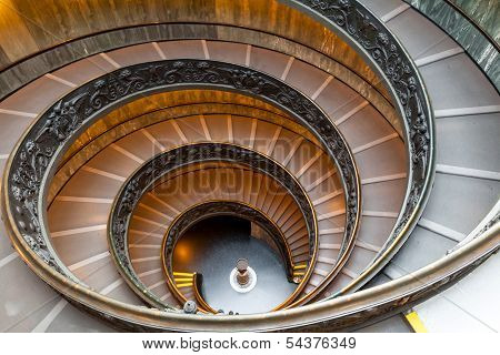 ROME, ITALY - November 14: The Bramante Staircase in Vatican on November 14, 2013. Double Helix Stai