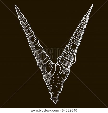 Abstract cyber steam-punk horns, V-letter isolated on black background