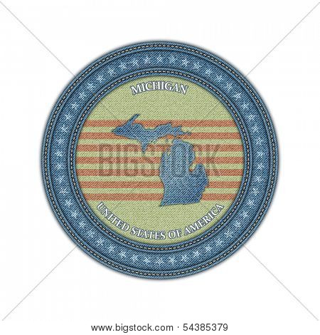 Label with map of michigan. Denim style. Vector eps 10